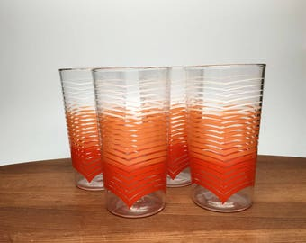 Anchor Hocking Orange Stripe Ombre Glasses