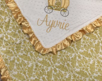Princess Baby Blanket- Princess Carriage Baby Blanket - Minky Baby Blanket- Gold Blanket- Damask Baby Bedding