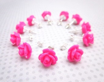 Fuchsia Studs -- Hot Pink Party Favors -- Sterling Rose Posts -- Hot Pink Studs -- Hot Pink Flower Earrings -- Jewelry Party Favors -- Studs
