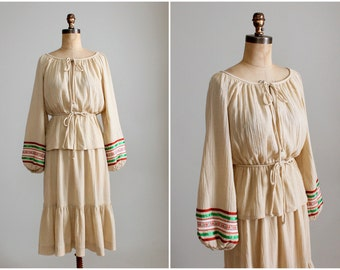 Vintage 1970s Boho Cotton Shirt and Skirt Dress Set