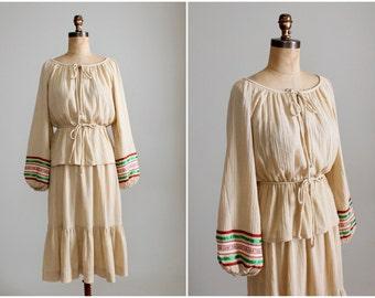 Vintage 1970s Boho Cotton Shirt and Skirt Dress Set