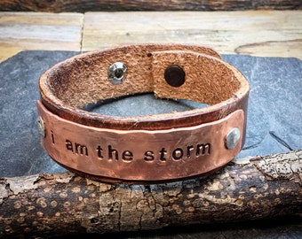 I AM THE STORM, hammered copper and leather bracelet with inspirational quote