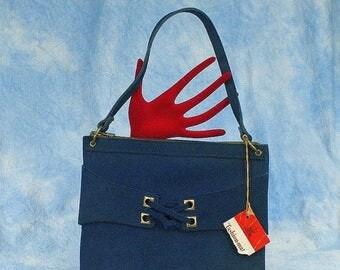 20% OFF Vintage 60s 70s Sandler Mod Blue Suede Hand Bag, Deadstock, NWT, NOS