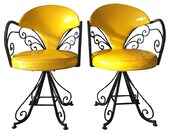 60's Hollywood Regency Style Swivel Chairs in Yellow