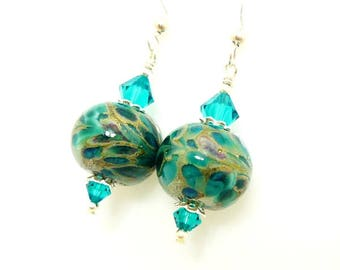 Teal Blue  Earrings, Lampwork Earrings, Glass Bead Earrings, Beadwork Earrings, Glass Art Earrings, Unique Earrings