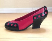 Vintage high heels pumps made in Spain by Van Eli black and red pumps