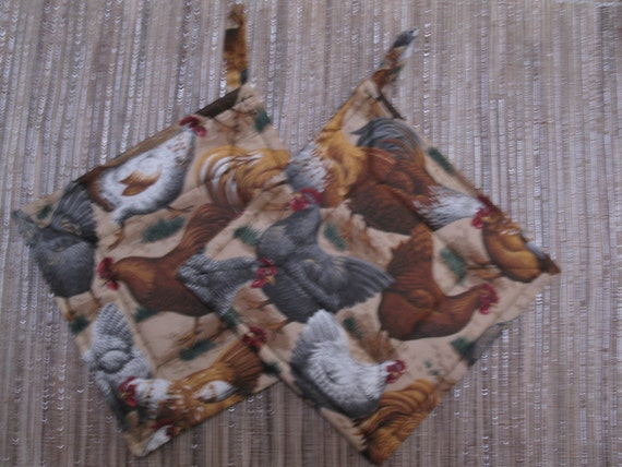 Friendly Rooters-Kitchen Pot Holders- Brown Roosters -Set of 2