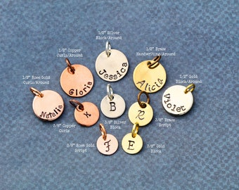 Small Initial Disc Add • On • Silver Disc • Rose Gold Disc Brass Disc • Copper Half Inch Disc • Three Eights Personalized Initial Gift