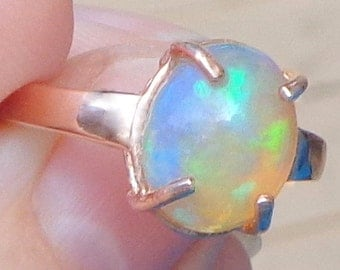 Sz 7, Solid 10K,Rose Gold Ring, Ethiopian Welo Opal, Natural Gem, Peach, Green, Yellow, Blue, Lavender Color Play Opal, OOAK