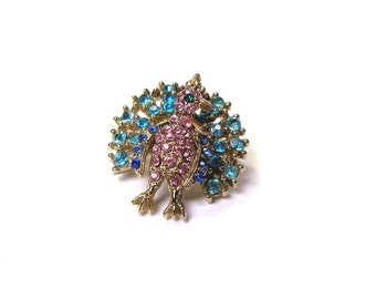 Vintage 1950s Novelty Peacock Rhinestone Brooch Pin Pink, Blue and Green Stones