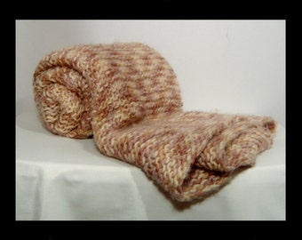 Soft and thick hand knit wool blanket ~ cream brown tan caramel beige ~ 38 x 48 ~ baby ~ hand made winter throw for bed sofa crib knitted