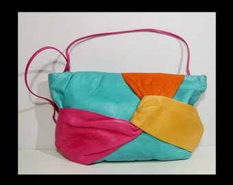 1980s large bright colorful lambskin leather clutch purse bag ~ long strap ~ turquoise aqua blue magenta pink gold yellow 80s art  handbag