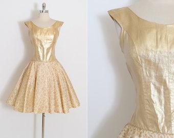 Vintage 50s Dress | 1950s dress | gold lurex and lace | medium m