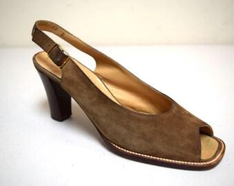 Vintage BRUNO MAGLI/Saks Fifth Avenue Taupe Suede Sling Back Pumps Heels Size 6