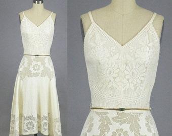 SALE Vintage 50s Dress, Cutwork Dress, 1950s Full Skirt Dress, Bohemian Dress, XS
