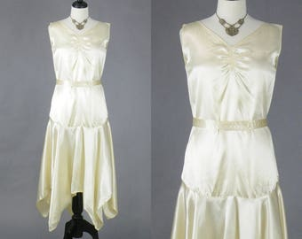 1930s Art Deco Wedding Dress, Vintage 30s Dress, 1930s Candlelight Satin Bridal Dress