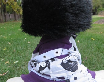 purple, black and white zippered, cowl, neck warmer, patchwork, upcycled