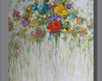 Abstract Painting Abstract Oil Painting Large Painting Art Original Abstract Artwork Flowers Painting Modern Art Painting by Mirjana