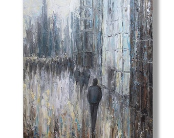 Urban  Painting Abstract Oil Painting  Art Original Abstract Artwork Cityscape Painting Modern Art Painting by Mirjana