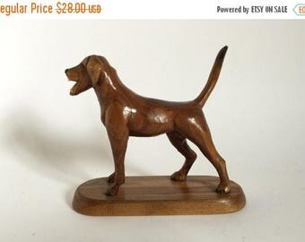 Vintage Hand Carved Wood & Signed English Bird Dog Pointer by C. P. Squires