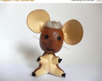 Vintage 1960's Brown & Tan Naugahyde Mouse Stuffed Animal Toy