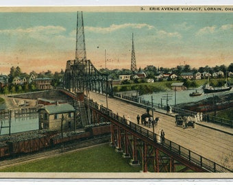Erie Avenue Viaduct Bridge Railroad Train Line Lorain Ohio 1923 postcard