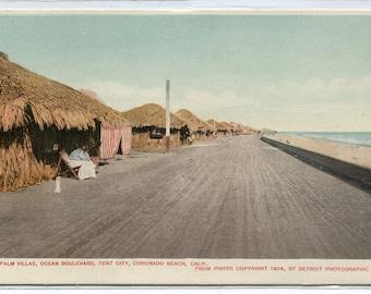 Palm Villas Ocean Boulevard Tent City Coronado San Diego California 1910c postcard