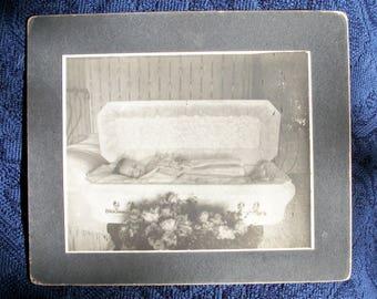 Vtg Photo - Post Mortem Infant Child in Coffin