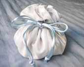 White Satin Bag, Wedding Dollar Dance Bag, Wedding Money Bag, Bridal Money Bag, Drawstring Bag