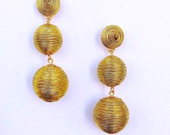 Gold Cord wrapped Les Bonbon bon bon Earrings