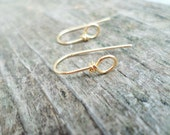 Copper, Oxidized Copper, NuGold or Sterling Silver Small Rounded Ear Wires