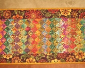 "Reserved for Mary Beth-Art Quilt, Gold, Green and Plum Kashmir Rug, Fabric Quilted Wall Hanging 41 x 20"" 100% cotton fabrics"