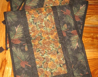 """Black Green Pine Cones and Leaves Earth Tone Runner, Quilted Table Runner, Reversible, 14 x 47"""" or 14 x 70"""""""