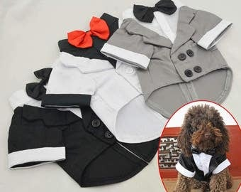 Cute Pet Dog Custom Wedding Suit Tuxedo Bow Tie Costume