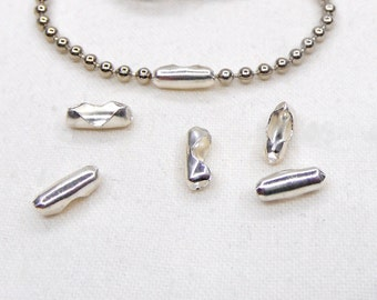 Silver Plated over Brass Ball Chain Connectors, Ball Chain Clasps, Ball Chain Ends, Fit 2mm Ball Chain, 7.5x2.5mm - 10 pcs