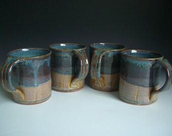 Hand thrown stoneware pottery mugs set of 4  (M-19)