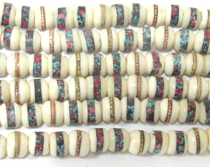10 beads - 7 - 8 mm Tibetan ivory white color bone mala with turquoise brass coral inlay beads supply - ML083B