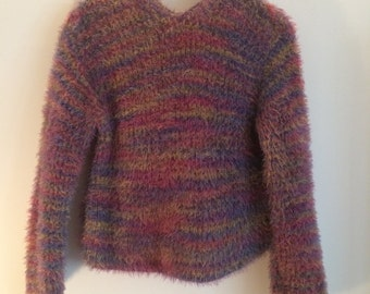 90s Fuzzy Monster Club Kid Rainbow Hooded Sweater
