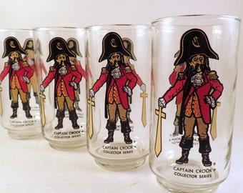4 PIRATES Captain Crook Tumblers Glasses Collector Series NM McDonald's 1977