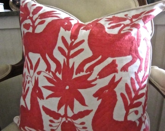 "PALM BEACH CORAL Otomi Hand Embroidered Pillow Cover 20"" X 20"" So Fresh Best on The Web!"