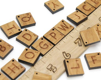 Scrabble Style Wooden Alphabet Letter Charms or Beads. Spell a Word, Name, or Message! Made in the USA. With holes or without.