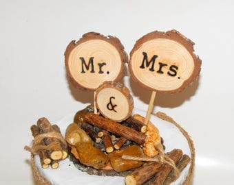 Campfire Mr & Mrs Camping Wedding Cake topper with log bundles, Beautiful rustic centerpiece, Real wood handmade item, groomsman decoration