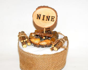 Camping Campfire & Logs Wood Cake Topper, Rustic camp, Unique Nine, 9th Woodland Birthday Party, 9th  Birthday Lumberjack celebration