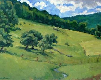 Summer Idyll, Berkshires. American Realist Oil on Canvas, 14x20 Plein Air Impressionist Landscape Painting, Signed Original Fine Art