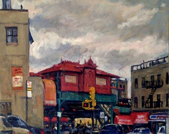 1 Train Station, 207th Street, NYC. Oil on Canvas, New York City Oil Painting, 12x12 NYC Urban Impressionist Fine Art, Signed Original Oil