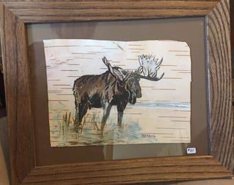 Bull Moose Hand Painted on Birch Bark, Framed