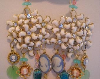 Pastel Dangle Pierced Earrings Repurposed Vintage Cameos Rhinestones Flowers FREE SHIPPING