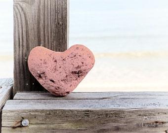 Beach Stone Heart Photo Print- Pink Heart, Beach Photography, coastal photo art, beach wall decor, romantic gift, heart art, Valentine heart