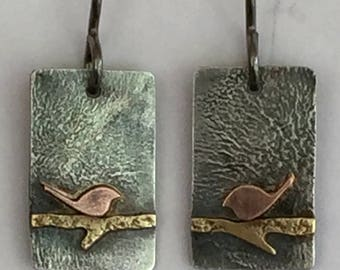 Silver Copper Brass Bird on a Branch Small Rectangle Dangle Earrings