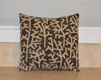 "Black and Tan Pillow Cover 18"" X 18"", Beige and Black Pillow Cover, Pillow Case, Two Tone Pillow Cover, Black Cushion Cover"